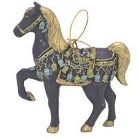 """Christbaumschmuck Figur """"Bezauberndes Pferd"""" blau-gold Hänger 11 cm"""