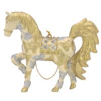 """Christbaumschmuck Figur """"Bezauberndes Pferd"""" creme-gold Hänger 11 cm"""