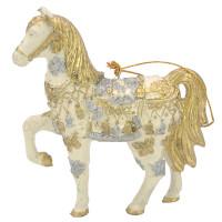 """Christbaumschmuck Figur """"Bezauberndes Pferd"""" weiß-gold Hänger 11 cm"""