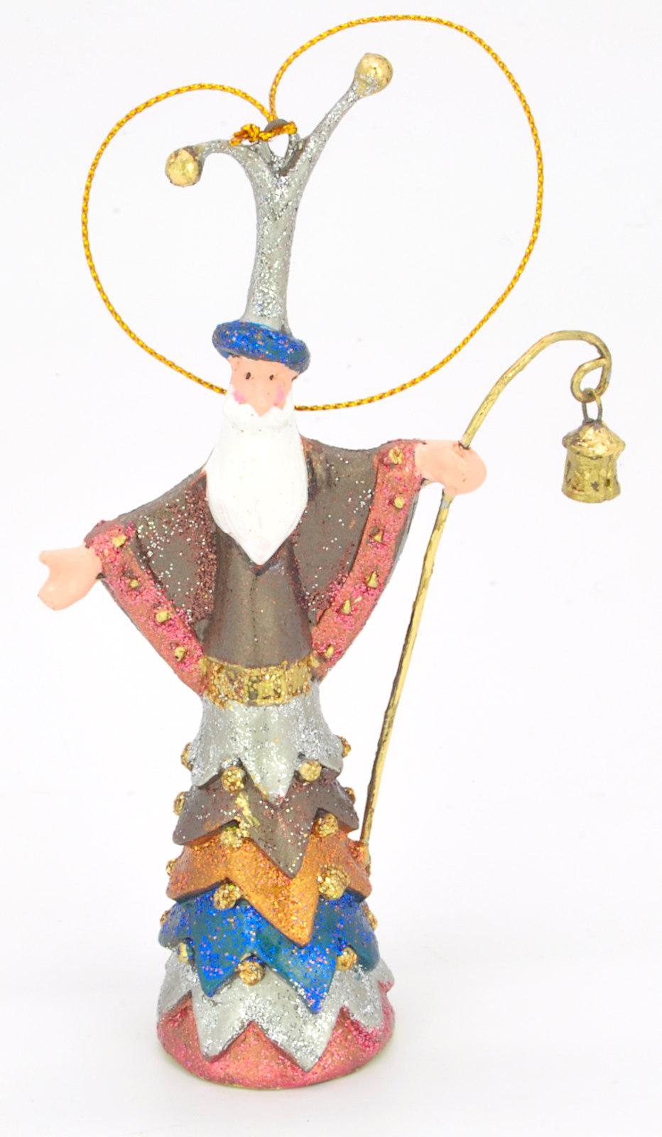 Christbaumschmuck Figur Weihnachtsmann mit Stab braun blau Baumschmuck 14cm
