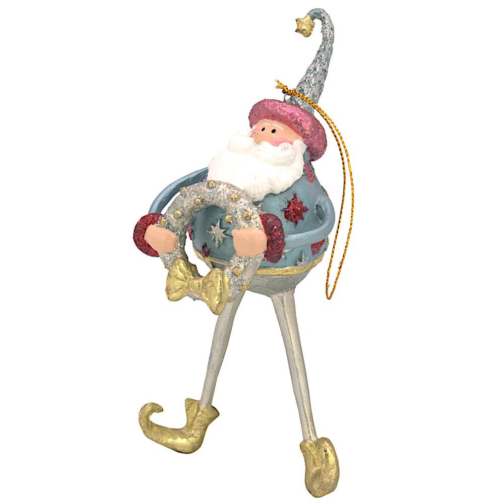 Christbaumschmuck Figur Weihnachtsmann mit Kranz Baumschmuck 16cm