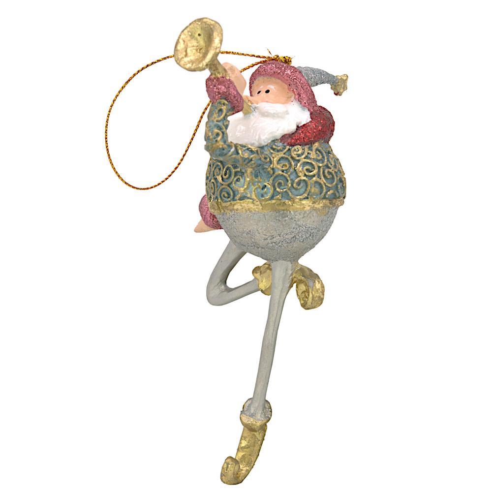 Christbaumschmuck Figur Weihnachtsmann mit Trompete Baumschmuck 16 cm