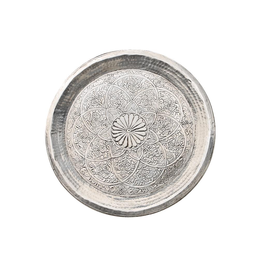 Aluminium-Tablett dekoratives, indisches Design 48cm Durchmesser silber