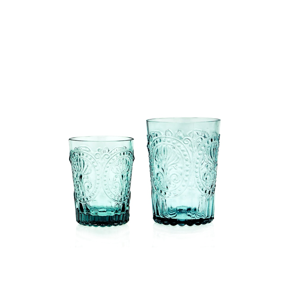 Wasserglas Trinkglas Fleur de LYS Recycled Fairtrade Ecoglas 300ml türkisblau