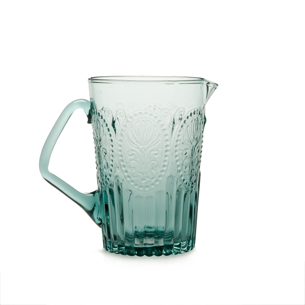 Wasserkrug Saftkrug Fleur de LYS Recycled Fairtrade mit Muster türkis