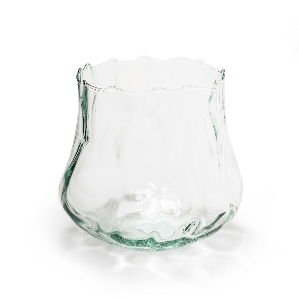 "Orchideenglas Vase Windlicht ""Cloudy"" 17cm recycling Glas eco Glas"