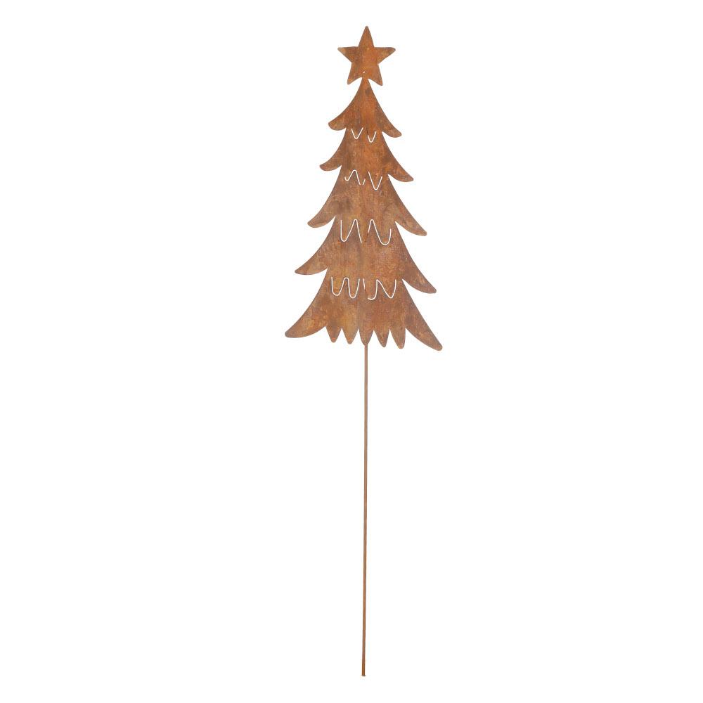 Weihnachtsdeko Tannebaum Stecker mit Stern Metall Rost Deko H/B/T 106/24/0,5 cm
