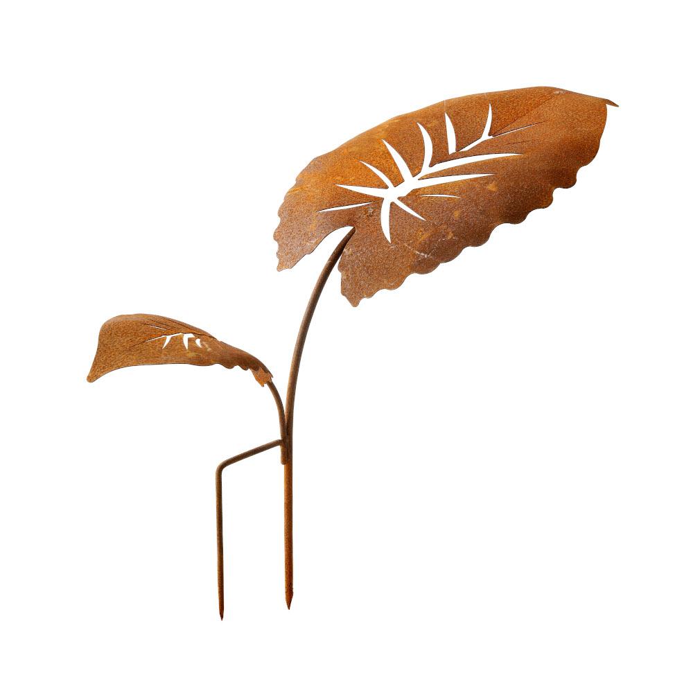 Blattstecker 2 Blätter Rost Deko Gartendeko Edelrost Beetstecker
