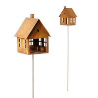 Vogelhaus Futterstation Vogelfutter zum Stellen Stecker Metall Rost Deko 17x25cm