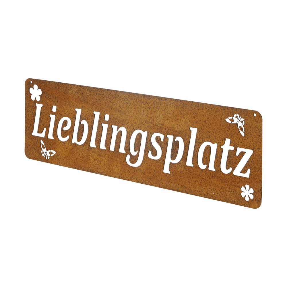 Gartendeko Lieblingsplatz Schild Wanddekoration Metall Rost 50x15 cm