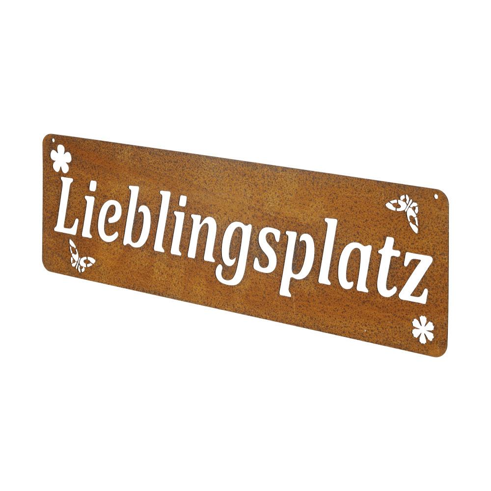 Gartendeko Lieblingsplatz Schild Wanddekoration Metall Rost 35x10,5 cm