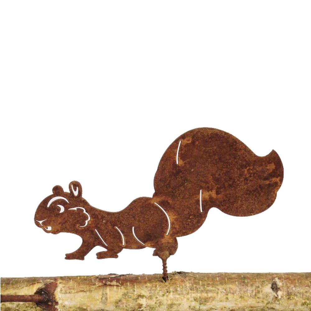 Gartendeko Eichhörnchen mit Dorn Schraube Baumtier Metall Rost Deko