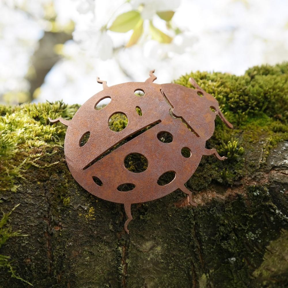 Gartendeko Käfer mit Dorn Schraube Insekt Baumtier Metall Rost Deko