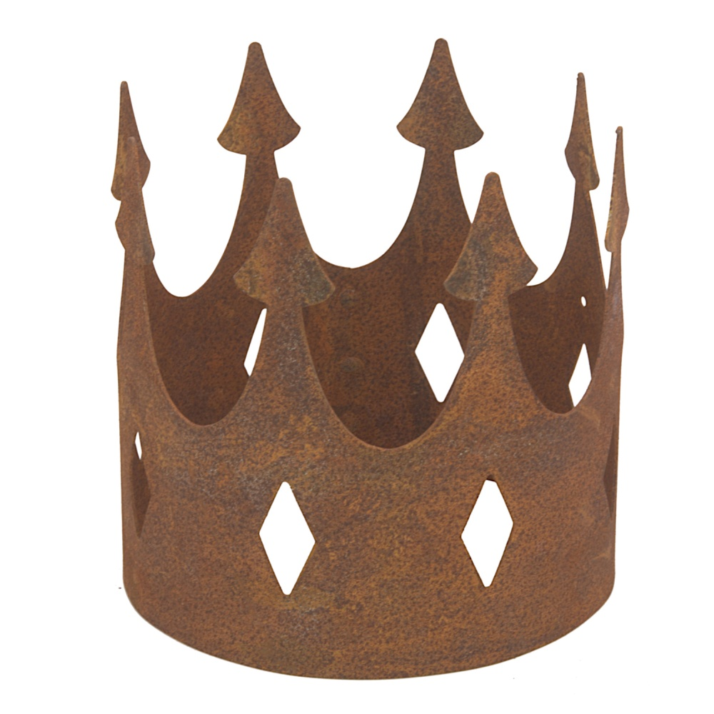 Gartendeko Krone offen zum Hinstellen klein 6,5 cm Metall Rost Deko