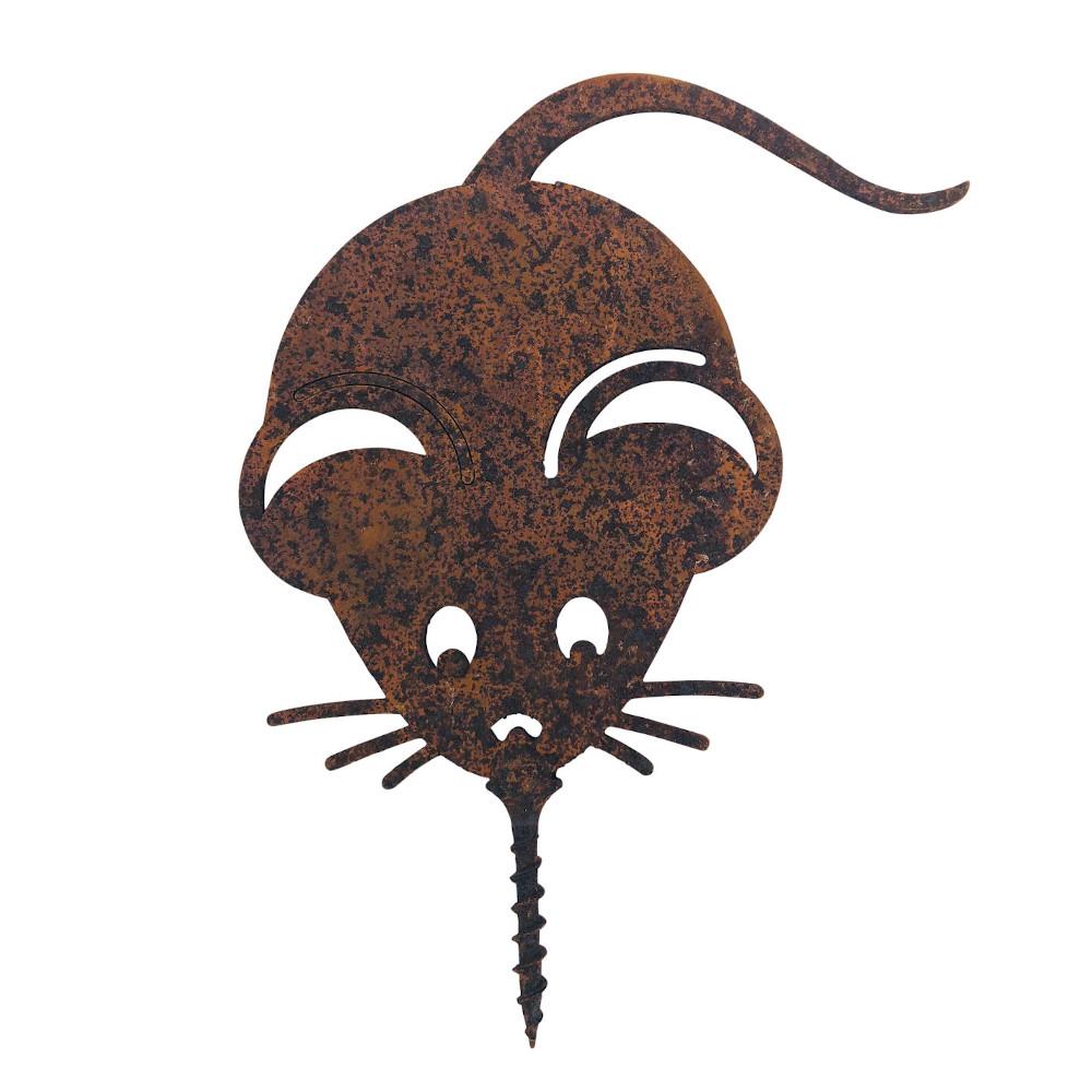 Gartendeko Maus mit Dorn Schraube Insekt Baumtier Metall Rost Deko