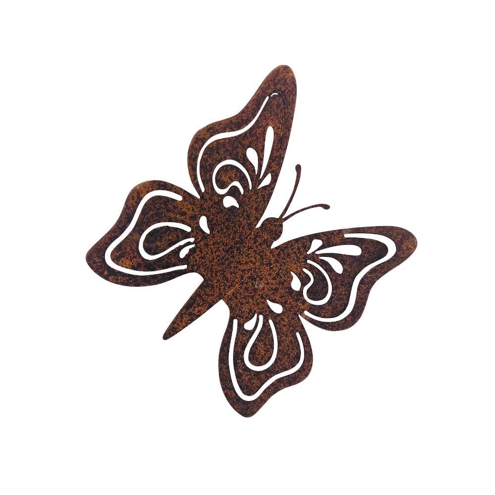 Gartendeko Schmetterling mit Dorn/Schraube Insekt Baumtier Metall Rost Deko