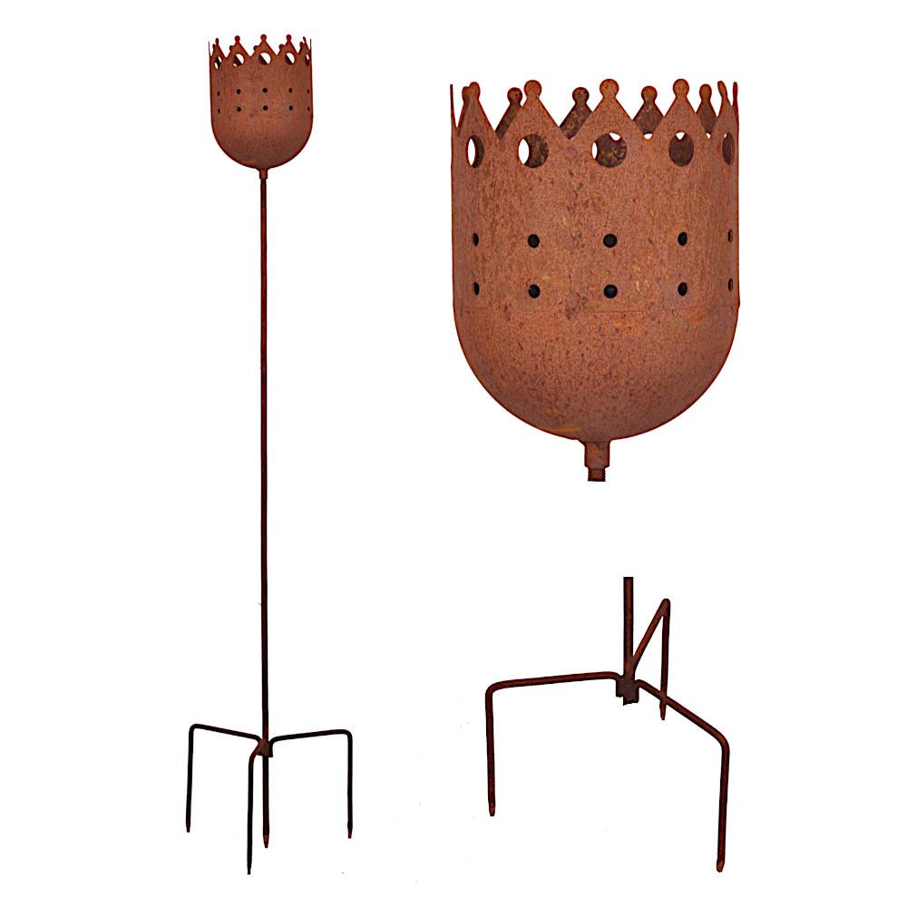 Kerzenhalter 120cm Rost Deko Leuchtfeuer Krone Gartendeko Stab Edelrost