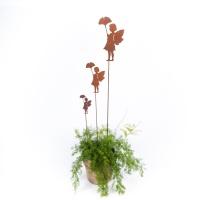 Gartendeko Elfe mit Blatt Stab Stecker Beet Blumentopf Figur Metall Rost 78cm