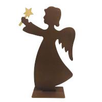 Weihnachtsdeko Engel mit Stern zum Stellen auf Platte Metall Rost Deko 19cm