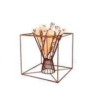 Feuerstelle Grill Feuerschale Kerzenhalter Würfel Metall Dekoobjekt 54 cm