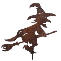 Gartendeko Hexe mit Besen Schraube Baumtier Metall Rost Halloween Herbstdeko
