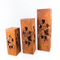 Gartendeko Lichtbjekt zum Stellen Säule Kübel Metall Rost Deko 22,5x22,5x60cm