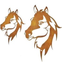 Gartendeko Wand-Dekoration Pferd Pferdekopf zum Hängen Deko 30cm x 45cm