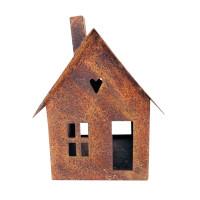Gartendeko Haus klein Laterne Gartenlicht zum Stellen Metall Rost Deko 15cm
