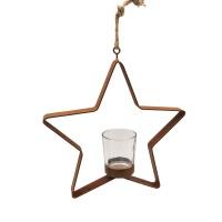 Weihnachtsdeko Stern aus Rost mit Teelicht aus Glas zum Aufhängen Metall