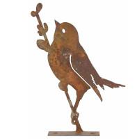 Gartendeko Vogel mit Zweig Baumtier Metall Rost Deko