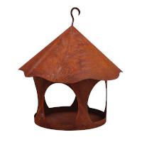 Vogelhaus Futterstation Vogelfutter zum Hängen Metall Rost Deko Durchmesser 28cm