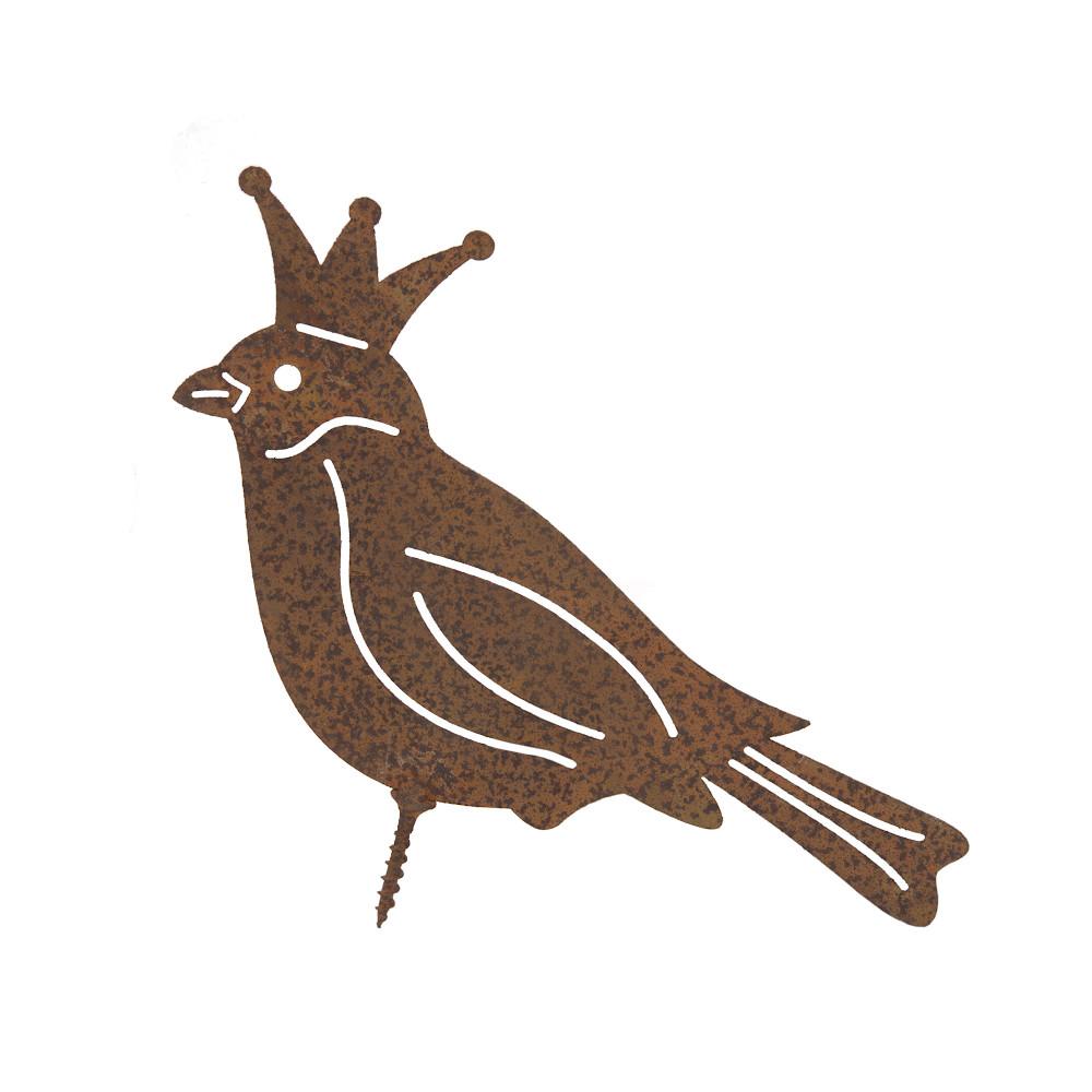Gartendeko Vogelkönig mit Dorn, Schraube Vogel Baumtier Metall Rost Deko