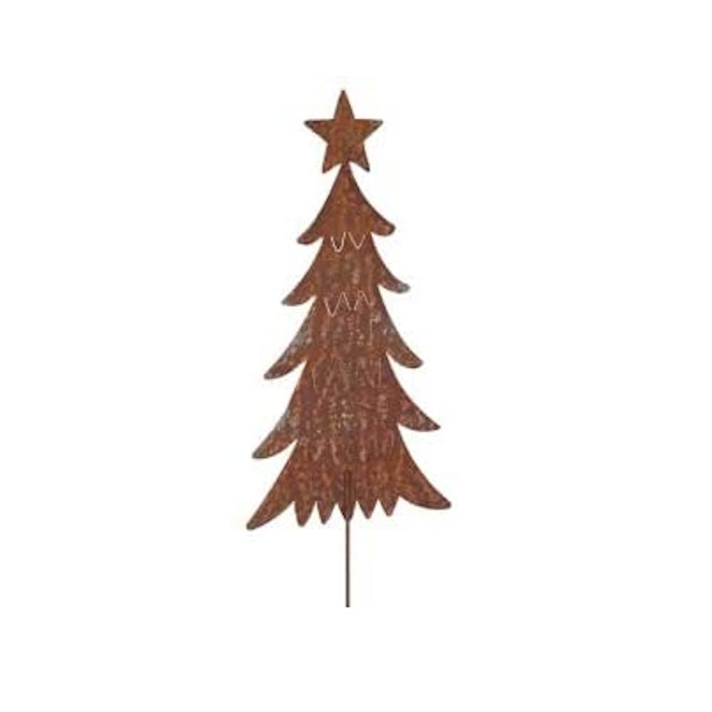 Weihnachtsdeko Tannebaum Stecker mit Stern Metall Rost Deko H/B/T 109/24/0,5 cm