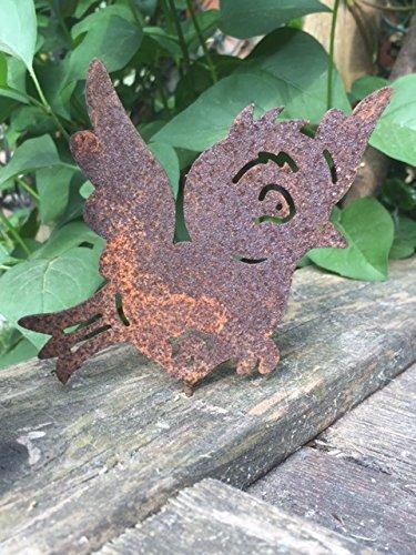 Gartendeko Vögelchen mit Dorn Schraube Vogel Baumtier Metall Rost Deko